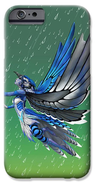 Blue Jay iPhone Cases - Blue Jay Fairy iPhone Case by Stanley Morrison
