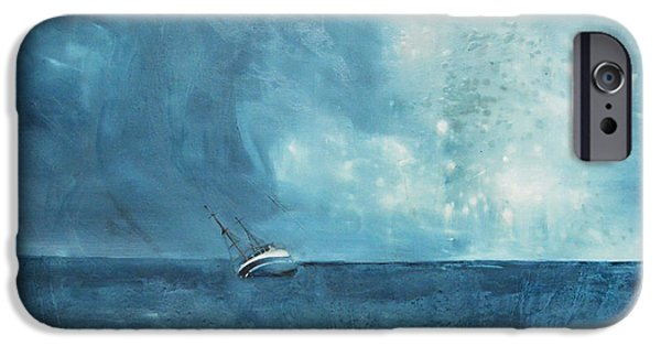 Storm Paintings iPhone Cases - Blue iPhone Case by Kristina Broza