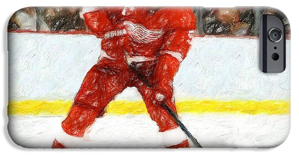Hockey Paintings iPhone Cases - Blue Line Assassin iPhone Case by John Farr