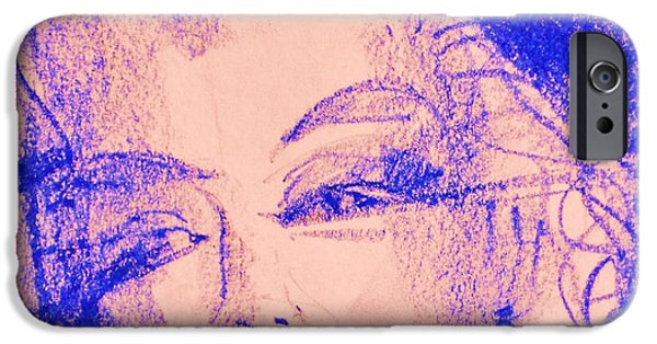 Music Pastels iPhone Cases - Blue Marilyn  iPhone Case by Tatjana Krilova