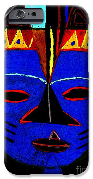 Vibrant Pastels iPhone Cases - Blue Mask iPhone Case by Angela L Walker