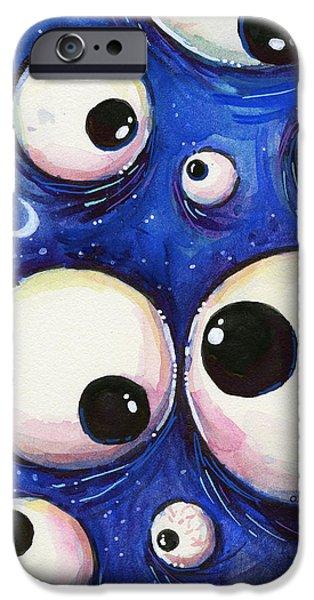 Eye iPhone Cases - Blue Monster Eyes iPhone Case by Olga Shvartsur
