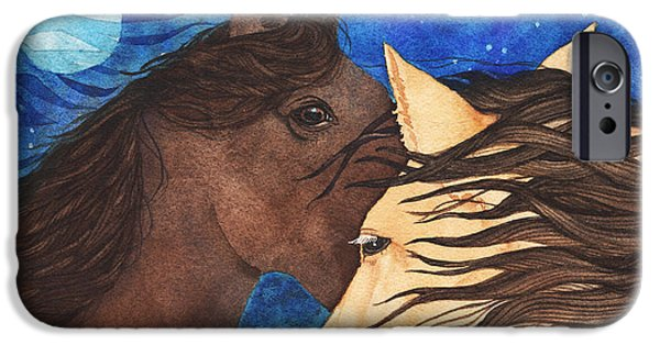 Night Angel iPhone Cases - Blue Moon Horses Watercolor iPhone Case by Michele Angel