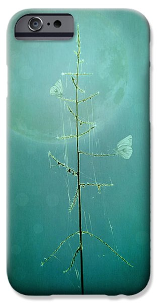 Abstract Digital Photographs iPhone Cases - Blue Moon iPhone Case by Marina Kojukhova