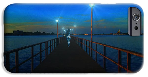 Night Lamp iPhone Cases - Blue Moon iPhone Case by Michael Rucker