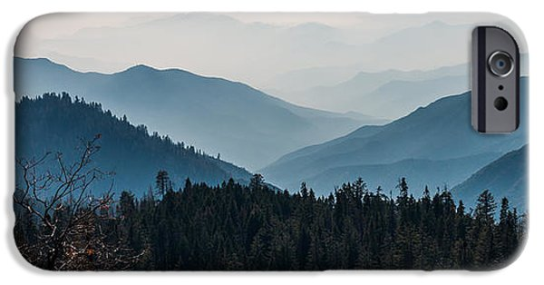 Fog Mist iPhone Cases - Blue Mountain Pano iPhone Case by Patti Deters