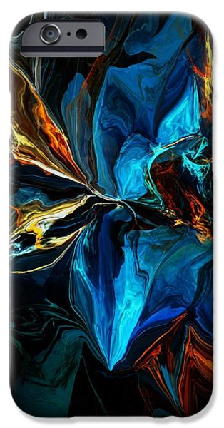 Abstract Expressionism iPhone Cases - Blue Mystery 062915 iPhone Case by David Lane