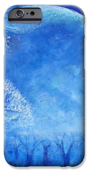 Blue Night Moon iPhone Case by Ashleigh Dyan Bayer