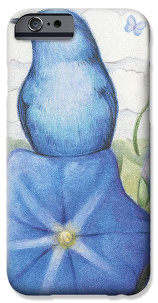 Morning Drawings iPhone Cases - Blue On Blue iPhone Case by Amy S Turner