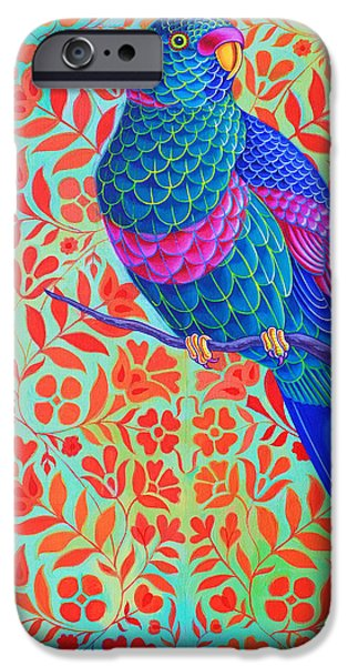 Fauna iPhone Cases - Blue Parrot iPhone Case by Jane Tattersfield