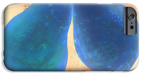 Pears Digital iPhone Cases - Blue Pears on Soft Peach iPhone Case by Heather Kirk
