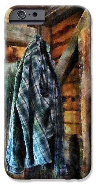 Blue Plaid Jacket in Cabin iPhone Case by Susan Savad