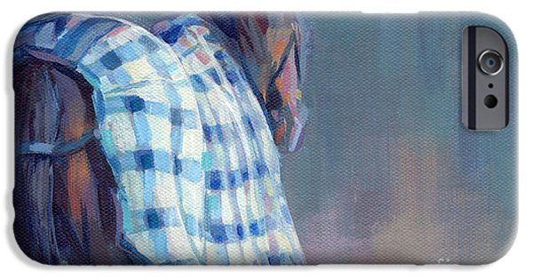 Thoroughbred iPhone Cases - Blue Plaid iPhone Case by Kimberly Santini