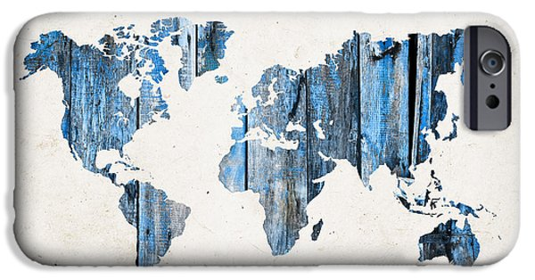 Different Worlds iPhone Cases - Blue planks world map iPhone Case by Delphimages Photo Creations