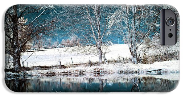 Tree Art Print iPhone Cases - Blue Pond Infrared iPhone Case by John Rizzuto
