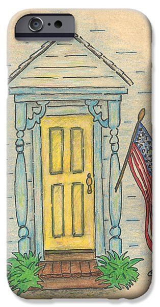 Old Glory Drawings iPhone Cases - Blue Porch iPhone Case by Carol Neal