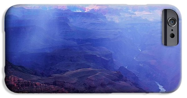 Rain Barrel iPhone Cases - Blue Rain Grand Canyon iPhone Case by Daniel Shearer