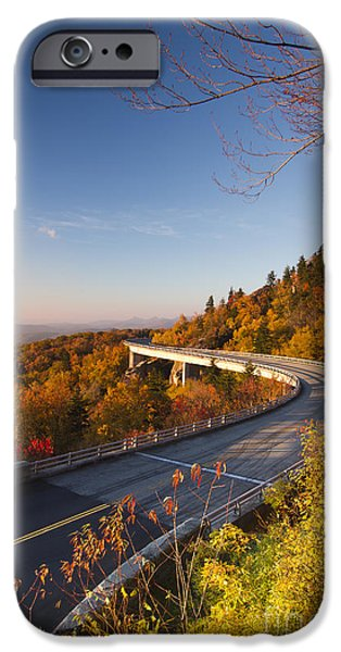 Blue Ridge Parkway iPhone Cases - Blue Ridge Parkway Linn Cove Viaduct Fall Colors 2 iPhone Case by Dustin K Ryan