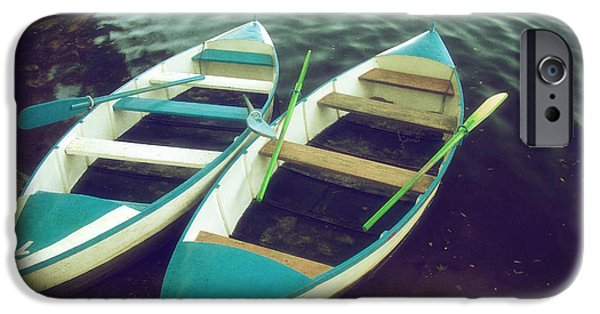 Pleasure iPhone Cases - Blue Row Boats iPhone Case by Carlos Caetano