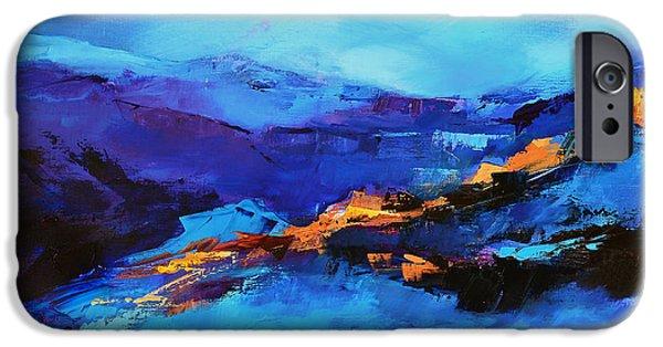 Corner iPhone Cases - Blue shades iPhone Case by Elise Palmigiani