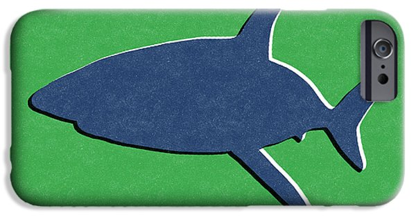 Fish Mixed Media iPhone Cases - Blue Shark iPhone Case by Linda Woods