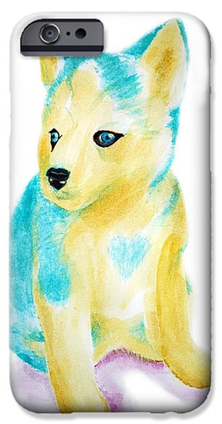 Husky Drawings iPhone Cases - Blue Siberian Husky iPhone Case by Ariel Sierra