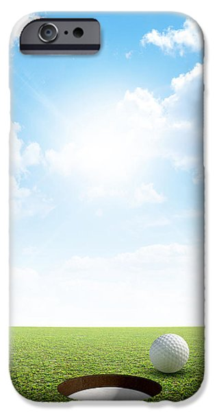 Golfing iPhone Cases - Blue Sky And Putting Green iPhone Case by Allan Swart