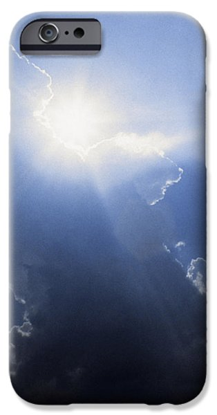 Sublime iPhone Cases - Blue Sky And Sunbeams iPhone Case by Gillham Studios