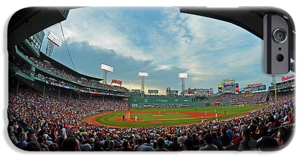 Boston Red Sox iPhone Cases - Blue sky over Fenway Park Fisheye iPhone Case by Toby McGuire