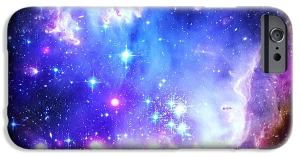 Constellations iPhone Cases - Blue Space iPhone Case by Johari Smith