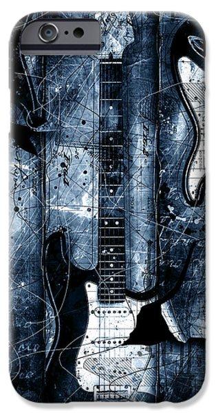 Fender Strat iPhone Cases - Blue Stratos iPhone Case by Gary Bodnar