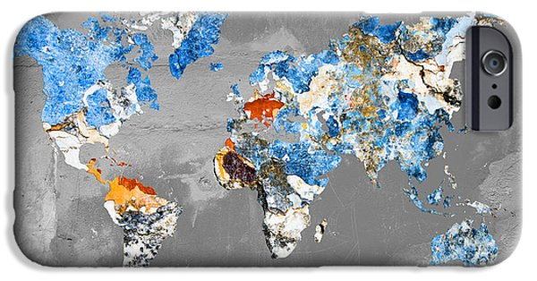 Different Worlds iPhone Cases - Blue street art world map iPhone Case by Delphimages Photo Creations