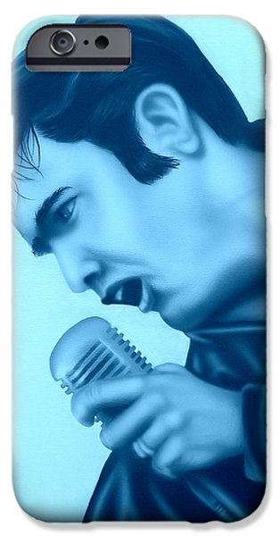 Elvis Presley Paintings iPhone Cases - Blue Suede Shoes iPhone Case by Darren Robinson
