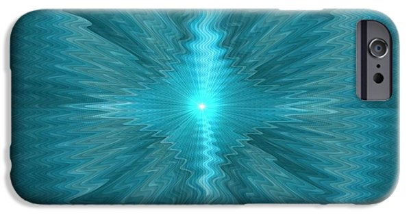 Abstract Digital Pastels iPhone Cases - Blue Sun Exploding H b iPhone Case by Gert J Rheeders