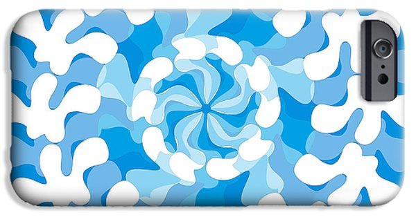 Shape Drawings iPhone Cases - Blue Swirl iPhone Case by Frank Tschakert