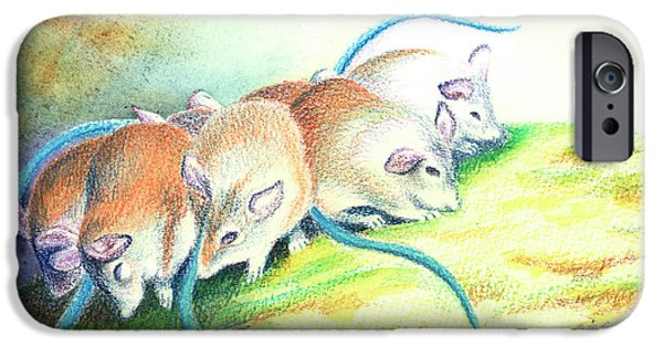 Mouse iPhone Cases - Blue Tailed Society iPhone Case by Tracy L Teeter