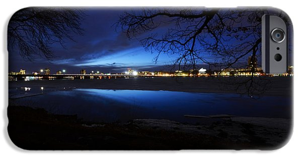 Boston Ma iPhone Cases - Blue twilight over the Charles River iPhone Case by Toby McGuire