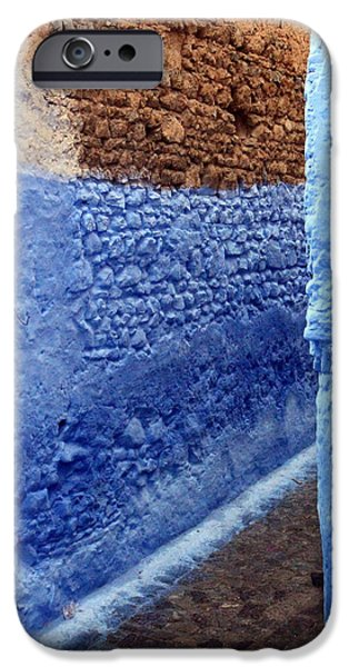 Rabat Photographs iPhone Cases - Blue Walls of Chefchaouen iPhone Case by Ramona Johnston