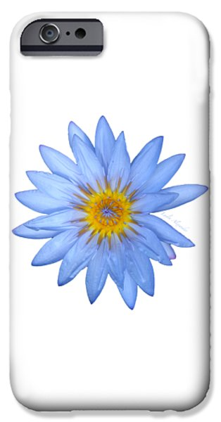 Botanical Photographs iPhone Cases - Blue Water Lily Star Sun square transparent iPhone Case by Layla Alexander