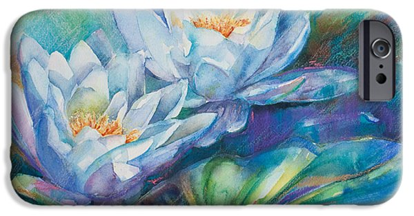 Waterlily iPhone Cases - Blue Waterlilies iPhone Case by Kate Bedell