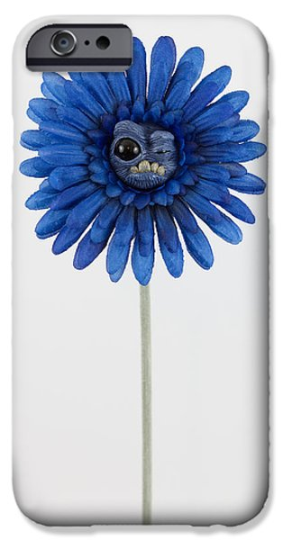 Petals Sculptures iPhone Cases - Blue Weird Flower iPhone Case by Michael Palmer