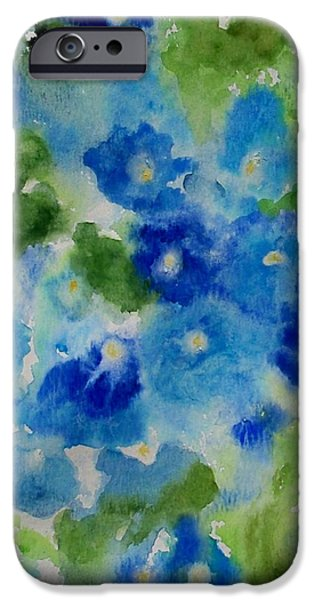 Free Form Paintings iPhone Cases - Blue Wet on Wet iPhone Case by Jamie Frier