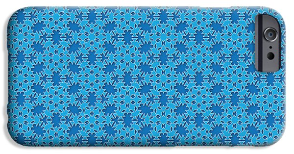 Snow Tapestries - Textiles iPhone Cases - Blue Winter Snow Flake Pattern iPhone Case by Jozef Jankola