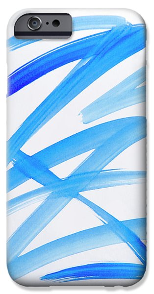 Blue Abstracts iPhone Cases - Blue Zig Zag Abstract Art iPhone Case by Christina Rollo