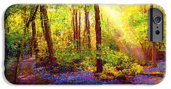 Paths iPhone Cases - Bluebell Blessing iPhone Case by Jane Small