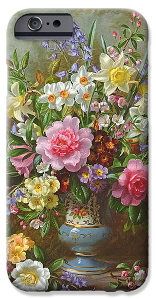 Primroses iPhone Cases - Bluebells daffodils primroses and peonies in a blue vase iPhone Case by Albert Williams