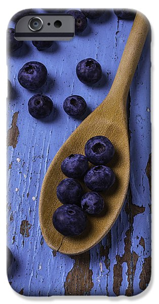 Chip iPhone Cases - Blueberries On Blue Board iPhone Case by Garry Gay