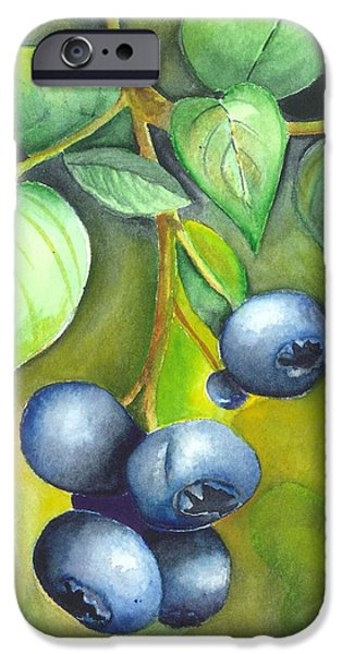 Blueberrries iPhone Case by Angela Armano