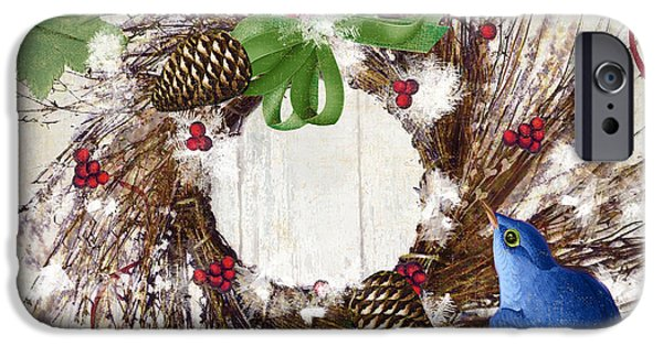 Wreath Paintings iPhone Cases - Bluebird Christmas II iPhone Case by Mindy Sommers