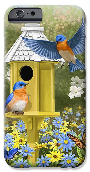 Birdhouse iPhone Cases - Bluebird Garden Home iPhone Case by Crista Forest